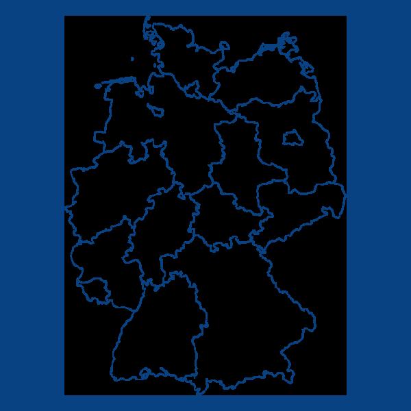 Deutschlandkarte mit blauen Linien
